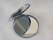 Polished Metal Compact Purse Mirror w/Dual View, Monogram Initial & Floral Print