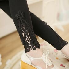 Woman Sexy Lace Flower Stretchy Skinny Cotton Fashion High Waist Leggings Pants