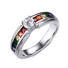 Rainbow CZs Gay Lesbian LGBT Pride New Fashion Stainless Steel Ring Size 6 to 11