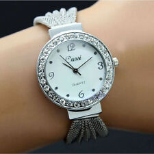 Woman Crystal Plated Elegant Net Band Bangle Bracelet Steel Quartz Wrist Watch