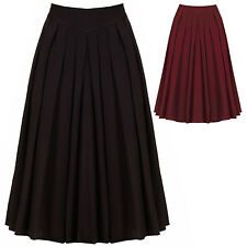 Womens New 1950s Vintage Retro Rockabilly Swing Pleated Flared Midi Circle Skirt