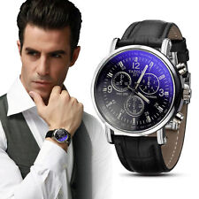 Luxury Blue Ray Glass Quartz Analog Faux Leather Fashion Men's Watch - Mens Gift