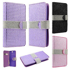 HTC One A9 Premium Leather Bling Diamond Wallet Pouch Flip Case + Screen Guard