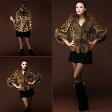 AU 12 - 20 Luxury Womens Warm Faux Fur Leopard Coat Winter Jacket Parka Outwear