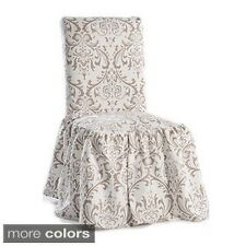 Damask Print Ruffled Dining Chair Slipcovers (Set of 2)