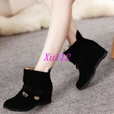 Sweet Womens Ankle Boots Faux Suede Hidden Wedge Ankle Boots Heels Dress Shoes
