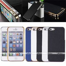 Luxury PU Leather Chrome Frame Hard Back Case Cover Skin For Apple iPhone 5 5S