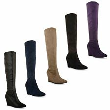 Womens Ladies Stretch Wedge High Heel Knee High Zip Up Stylish Long Boots Shoes