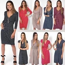 Womens Casual 3/4 Sleeve Plunge Neck Bodycon Cross Over Wrap Jersey Dress 4-16