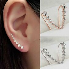 2016 New Lady 18K GP Silver & Gold Plated Crystal Earrings Ear Hook Gift Charm