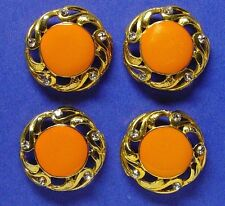 4 extra large 1.25 inches pink coral color enameled, coat buttons w/rhinestones