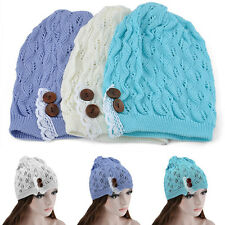 Women Girl Lace Buttons Warm Oversized Ski Cap Knit Baggy Beanie Winter Hats