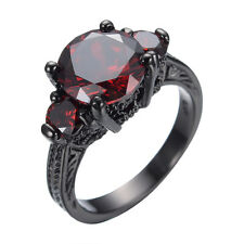 Ruby Engagement Ring Red Garnet 10KT Black Gold Filled Wedding Jewelry Size 5-10