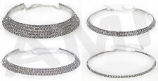 GORGEOUS DIAMANTE CHOKER NECKLACE! 1, 2, 3 & 5 ROW SILVER COLOURED PARTY CHAIN