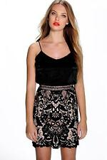 Boohoo Womens Amy Corded Lace Skirt Cami Bodycon Dress