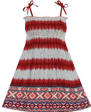 Sunny Fashion Girls Dress Sleeveless Smocked Halter Striped Deep Red Size 2-10