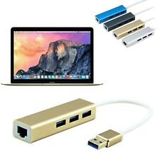 3 Port Hub+USB 3.0 to RJ45 Lan Card Gigabit Ethernet Network Adapter for Macbook