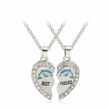 "2Pcs BFF Heart ""Best Friends"" Letter Panda Crystal Pendant Necklace Friendship"