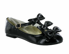 WOMENS BLACK PATENT BALLERINA BOW FLAT CASUAL WORK SCHOOL SHOES 3-8
