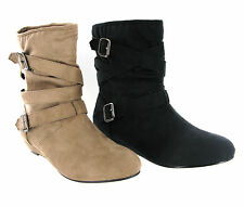 Fashion Ankle Pull On Low Wedge Heel Casual Pixie Womens Style Boots UK 3-8