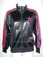 Adidas Chile 62 Originals Womens Track Top Jacket Shiny Black Pink UK 10 Eur 36