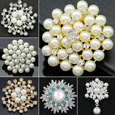 New Classic Alloy Flower Faux Pearls Brooch Crystal Pin Wedding Party Jewelry