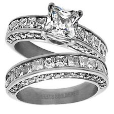 Stainless Steel Stunning 6.42 Carat CZ Engagement Ring 2-Piece Wedding Band Set