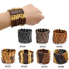 Fashion Wooden Beads Elastic Stretch Wood Bracelet Bangle Unisex Lucky Jewelry