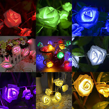 20 LED Rose Flower Fairy Wedding Garden Party Christmas String Lights Xmas Decor