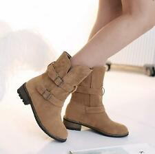 Fashion Womens Faux Suede Pull On Buckle Strap Ankle Boots Flat Casual Shoes sz