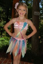 Pink & blue 2 piece custom lyrical  competition dance costume  CS/M 7/8 Pageant
