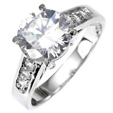 Silver Engagement Ring Cubic Zirconia Eternity Sterling 925 Size 8 9 USA Seller