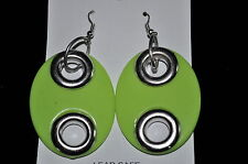 OVAL shaped acrylic Dangling PIERCED costume fashion earrings w/silver accents
