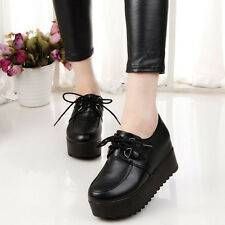 Women's High Platform Oxfords Lace Up Flats Round Toe Student Creeper Shoes Hot