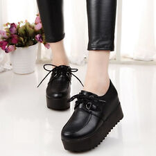 Lady's Lace Up Flats High Platform Oxfords Round Toe Shoe Student Creeper Shoes