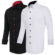 Luxury Mens Casual Shirt Stylish Slim Fit Long Sleeve Casual Dress Shirts Tops