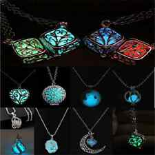 Attractive Rose Flower Heart Locket Glow In The Dark Pendant luminous Necklace