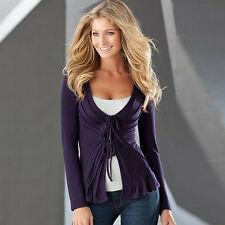 New Women's Sexy Tie Front Top Butterfly Shaped Fold V-neck Long Sleeve Outwear