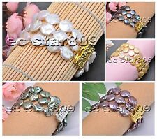 "D0176 3row 8"" 14mm Real Coin Freshwater Pearl Bracelet"