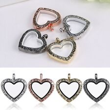 Hot Living Memory Floating Charm Heart Love Glass Locket Chain Pendant Necklace