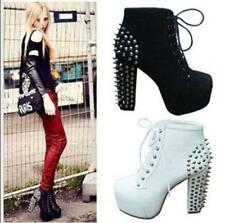 Fashion Womens Spike Studded Goth Punk Rock High Heel Lace Up Ankle Boots Shoes