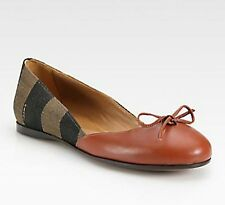 $460 NEW FENDI Women Brown Leather Pequin Logo Ballet Flats Shoes US 10, US 10.5