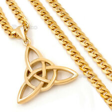 Men's 5mm Gold Curb Chain Celtic Knot Stainless Steel Pendant Necklace Jewelry