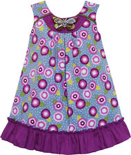 Sunny Fashion Girls Dress Cotton Floral Print Beaded Butterfly Purple Size 7-14