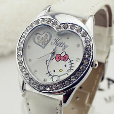 Women Girl Child Hello Kitty Heart shape Crystal Wrist Watch Birthday Gift her