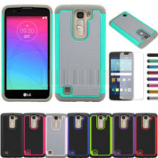 For LG Tribute 5 K7 Dual Layer Rugged Armor Hybrid Rubber Hard Case Cover+LCD