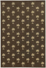 Tommy Bahama Brown Bordered Trees Palms Contemporary Area Rug Floral 7126N