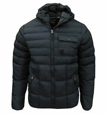 Soul Star Men's Lassu Hooded Padded Quilted Jacket Coat Navy