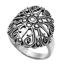 925 Sterling Silver Fancy Swirl and Dot Oval Ring Size 6-9