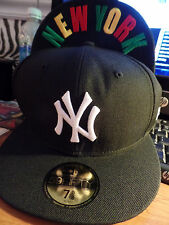 New York Yankees MLB New Era 5950 Custom Black Flat Bill Brim Fitted Hat Cap NY